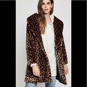 BCBGENERATION faux fur leopard jacket coat XS